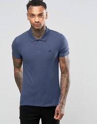 Синяя облегающая футболка-поло из пике ASOS - Смолисто-синий
