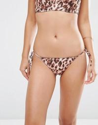 Бразильские плавки-бикини с леопардовым принтом ASOS