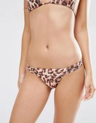 Плавки-бикини стринги с леопардовым принтом ASOS