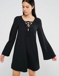 Свободное платье со шнуровкой AX Paris - Черный