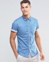 Джинсовая выбеленная рубашка скинни с короткими рукавами ASOS