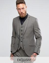 Облегающий пиджак с узором гусиная лапка Heart & Dagger - Коричневый