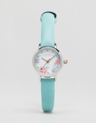 Часы с ремешком мятного цвета и цветочным принтом на циферблате Johnny