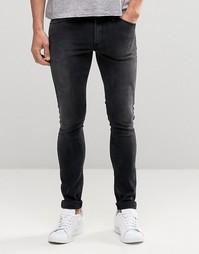 Черные супероблегающие джинсы ASOS - Выбеленный черный