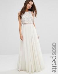 Платье макси с укороченным топом ASOS PETITE - Белый