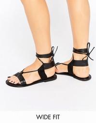 Кожаные сандалии для широкой стопы ASOS FAIR GROUND - Черный