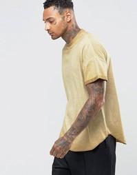 Желтая oversize‑футболка с отворотами и асимметричным краем ASOS