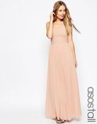 Платье макси с оборками ASOS TALL WEDDING - Телесный