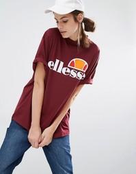 Oversize-футболка бойфренда с логотипом спереди Ellesse - Burgandy