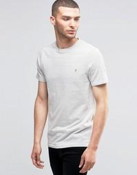 Светло-серая футболка слим в горошек Farah - Экрю