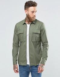 Куртка-рубашка цвета хаки на молнии ASOS - Хаки