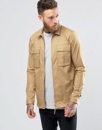 Бежевая куртка-рубашка в стиле милитари на молнии ASOS - Бежевый