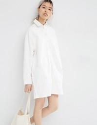 Джинсовое платье-рубашка в стиле oversize ASOS WHITE - Экрю