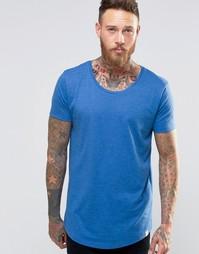 Синяя меланжевая футболка с формованным низом Lee - Классический синий