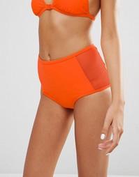 Missguided Fish Net Back Bikini Brief - Оранжевый