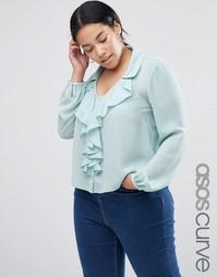 Блузка с рюшами спереди ASOS CURVE - Мятный