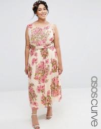 Платье миди с цветочным принтом и отделкой ASOS CURVE Wedding