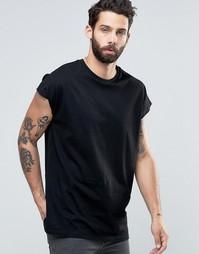 Черная оversize-футболка без рукавов ASOS - Черный