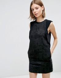 Жаккардовое цельнокройное платье с кантом See U Soon - Черный