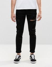 Узкие черные джинсы с прорехами Dr Denim Clark - Черные с прорехами