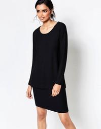 Ярусное черное платье с длинными рукавами Ganni - Черный