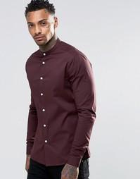 Коричневая рубашка скинни с воротником на пуговице ASOS - Коричневый