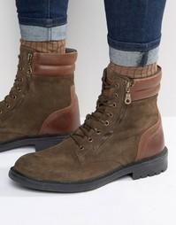Замшевые ботинки на шнуровке Walk London Stepney - Зеленый