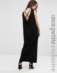 Платье макси без рукавов с драпировкой и лямками сзади ASOS PETITE
