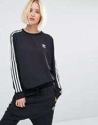 Шифоновый свитшот с тремя полосками adidas Originals - Черный