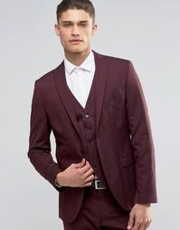 Пиджак узкого кроя из эластичной ткани Selected Homme - Burgundy