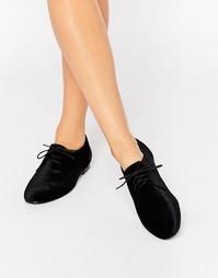 Туфли на шнуровке и плоской подошве ASOS MISSION - Черный бархатный