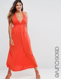 Трикотажное пляжное платье макси с завязкой на шее ASOS CURVE - Tomato