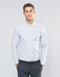 Облегающая рубашка в широкую синюю полоску ASOS - Синий