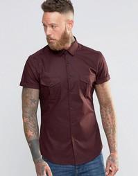 Бордовая рубашка скинни в стиле милитари ASOS - Burgundy