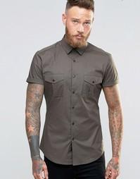 Рубашка скинни в стиле милитари ASOS - Хаки