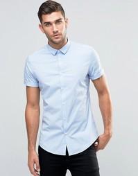 Синяя стретчевая рубашка зауженного кроя ASOS - Синий