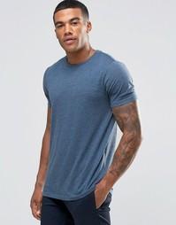 Синяя меланжевая футболка с круглым вырезом ASOS
