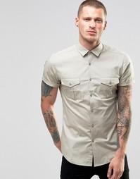 Серая рубашка скинни в стиле милитари ASOS - Stone