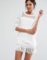 Ярусное платье мини с бахромой и отделкой A Star Is Born - Белый