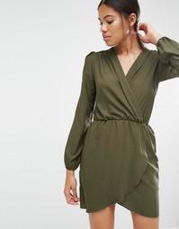 Платье с длинными рукавами и запахом Love - Хаки