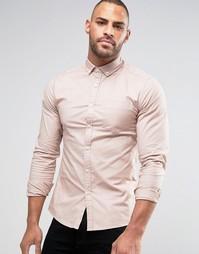Оксфордская рубашка скинни с длинными рукавами ASOS - Розовый