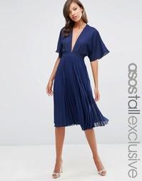 Плиссированное платье миди с рукавами-кимоно ASOS TALL - Темно-синий