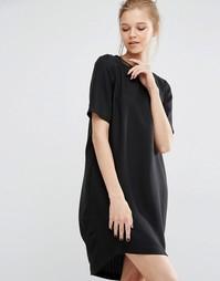 Платье с открытой спиной и короткими рукавами Y.A.S Sanna - Черный