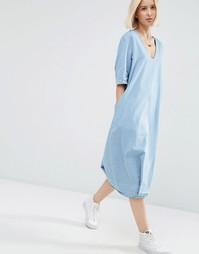 Джинсовое платье миди с v-образным вырезом ASOS WHITE - Синий деним