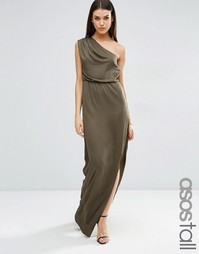 Драпированное платье макси на одно плечо ASOS TALL - Хаки