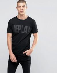 Черная однотонная футболка с логотипом Replay - Черный
