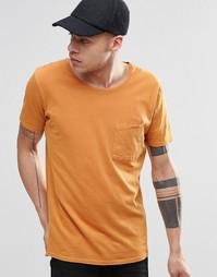 Оранжевая футболка с карманом Nudie - Оранжевый