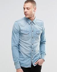 Голубая джинсовая рубашка в стиле вестерн Nudie Jonis Bronson - Деним