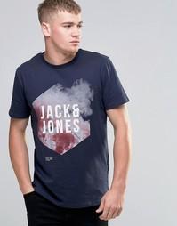 Футболка с графическим принтом Jack & Jones - Темно-синий