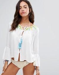 Пляжный топ с завязкой, оборками и вышивкой Anmol - White neon
